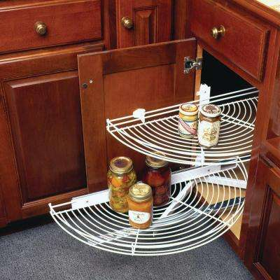 3.25 in. x 27.81 in. x 13 in. Glide Half Moon White Wire Lazy Susan