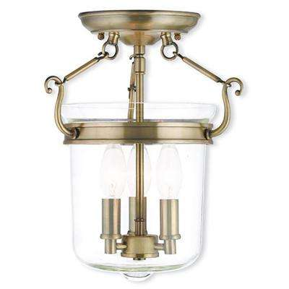 Rockford 3-Light Antique Brass Flushmount
