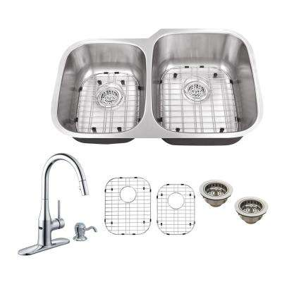 All-in-One Undermount Stainless Steel 32 in. 0-Hole Double Bowl Kitchen Sink with Faucet