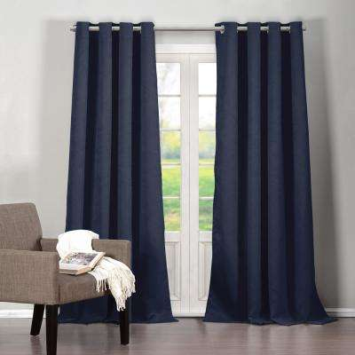 Quincy 38 in. W x 84 in. L Polyester Window Panel in Indigo