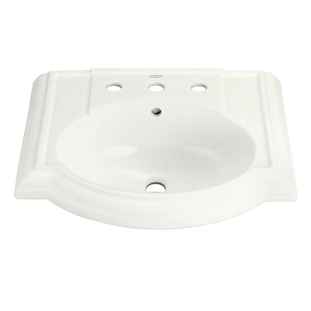 KOHLER Devonshire Vitreous China Pedestal Sink Basin in White