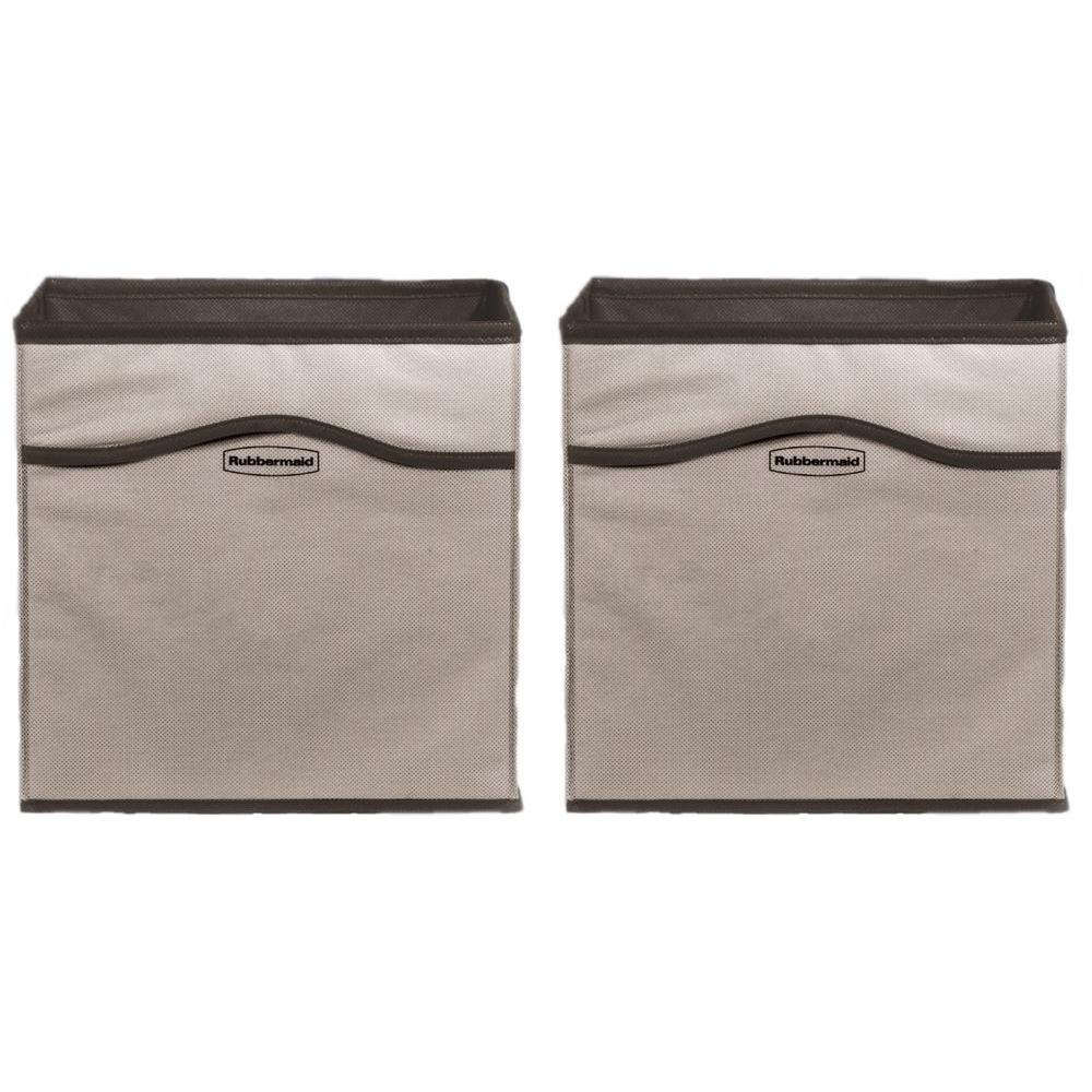 Rubbermaid ClosetHelper 10.75 in. x 10.75 in. x 10.75 in. Gray Fabric Storage Cube (2-Pack)