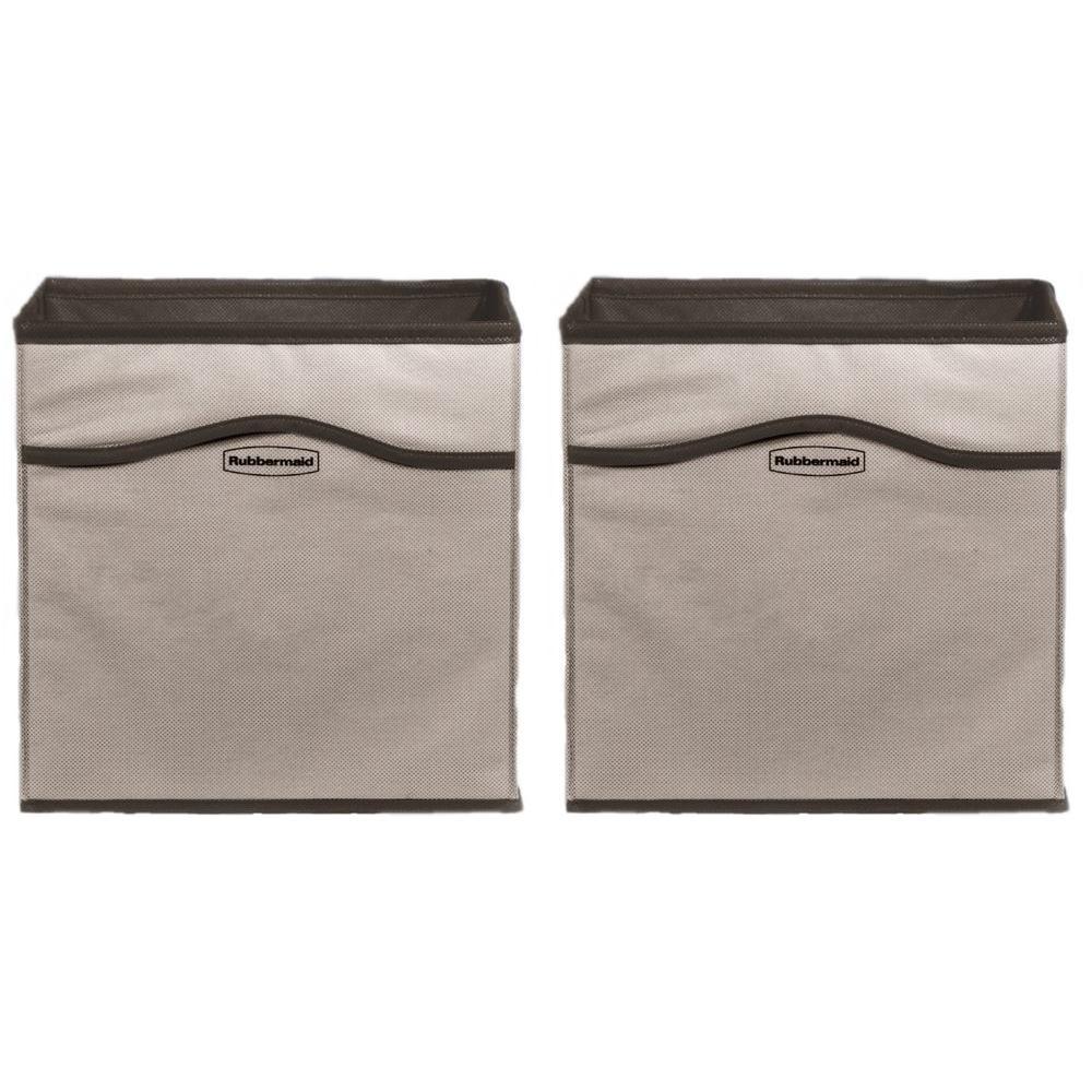 Rubbermaid ClosetHelper 10.75 in. x 10.75 in. x 10.75 in. Gray Fabric Storage Cube (2-Pack)