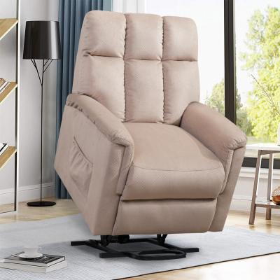 Beige Soft Fabric Recliner Chair with Remote Control
