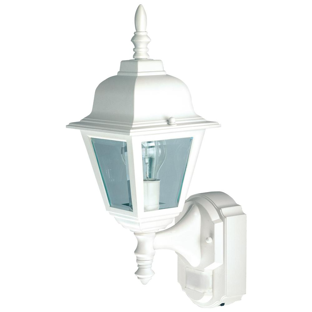 1-Light White Motion Activated Outdoor Wall Mount Lantern
