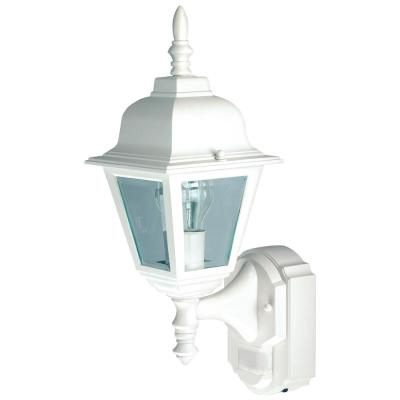 1-Light White Motion Activated Outdoor Wall Lantern Sconce