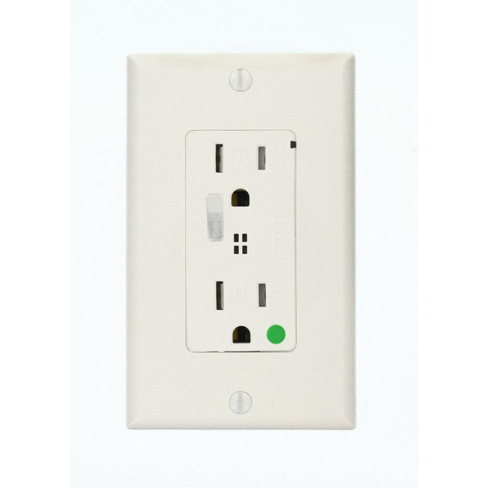 Leviton Decora Plus 15 Amp Hospital Grade Duplex Surge Outlet with ...