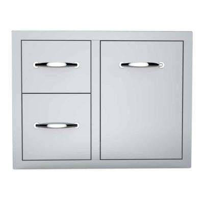 Classic Series 30 in. 304 Stainless Steel Flush Tank Tray Double Drawer Combo