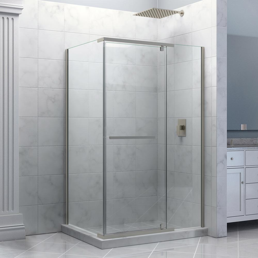 DreamLine Quatra 34-5/16 in. x 34-5/16 in. x 72 in. Semi-Framed Pivot Shower Enclosure in Brushed Nickel