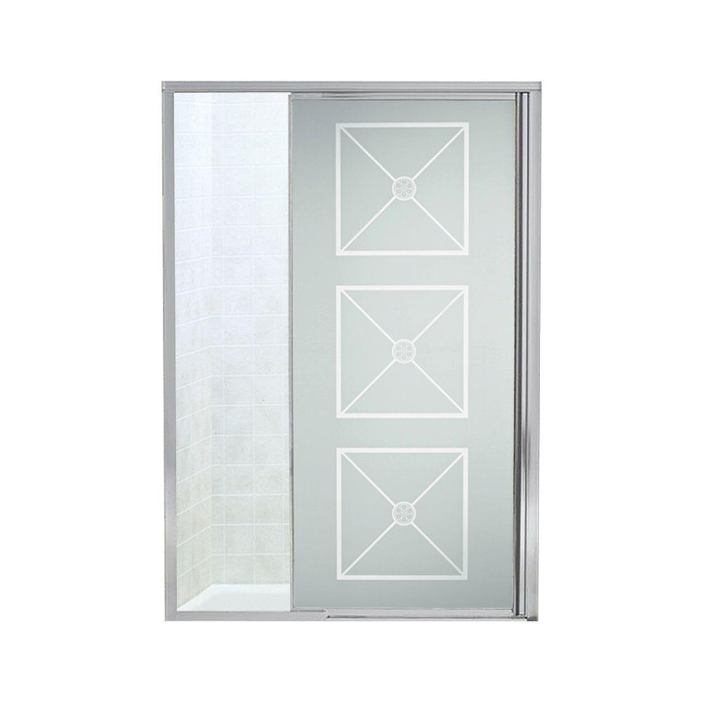 STERLING Vista Pivot II 48 in. x 65-1/2 in. Framed Pivot Shower Door in Silver with Brownstone Glass Pattern