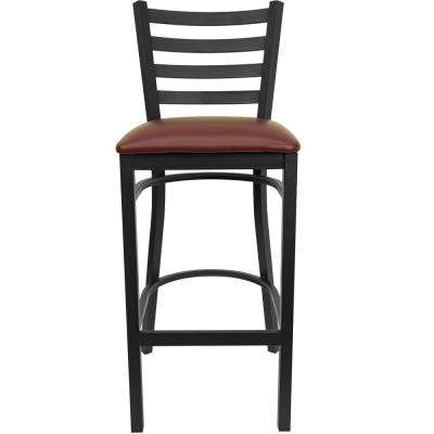 31 in. Black and Burgundy Cushioned Bar Stool