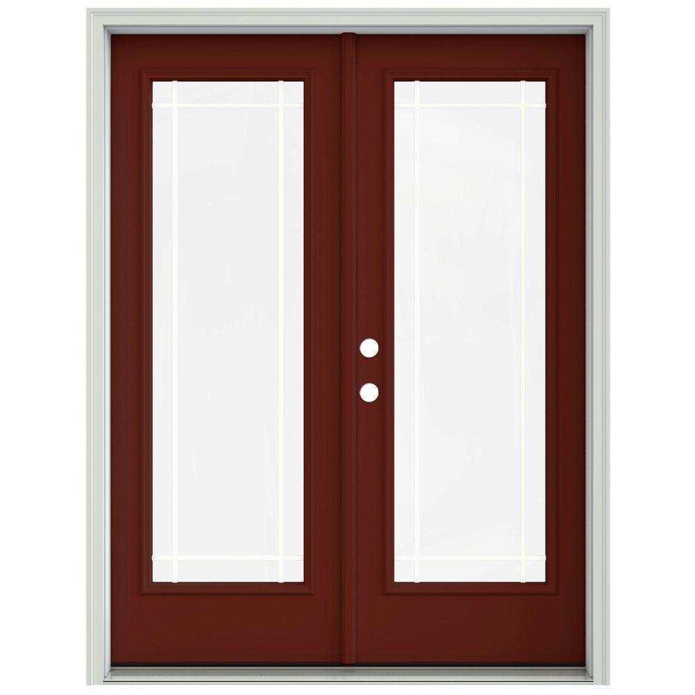 jeld wen 60 in x 80 in mesa red painted steel right - 60 Patio Door