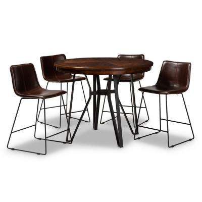 Carvell 5-Piece Dark Brown Pub Set
