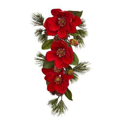 26 in. Red Magnolia and Pine Tear Drop