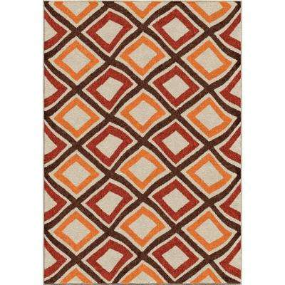 Swirly Squares Green 8 ft. x 11 ft. Indoor/Outdoor Area Rug