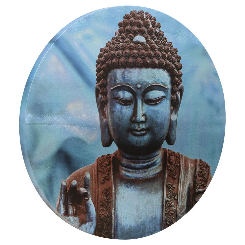 Fabulous Buddha Circular Silver Canvas Giclee Printed On 2 In Wood Download Free Architecture Designs Boapuretrmadebymaigaardcom