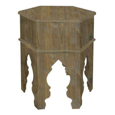 Wood Gold  Moroccan inspired Accent Table in Natural Wood
