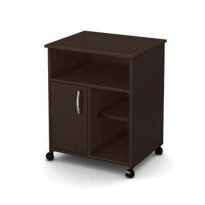 Axess Microwave Cart With Storage On Wheels, Chocolate