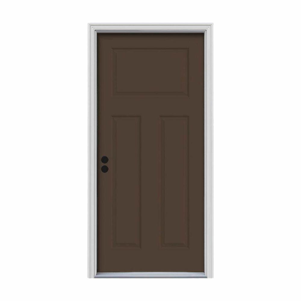 32 in. x 80 in. 3-Panel Craftsman Dark Chocolate Painted Steel Prehung Right-Hand Inswing Front Door w/Brickmould