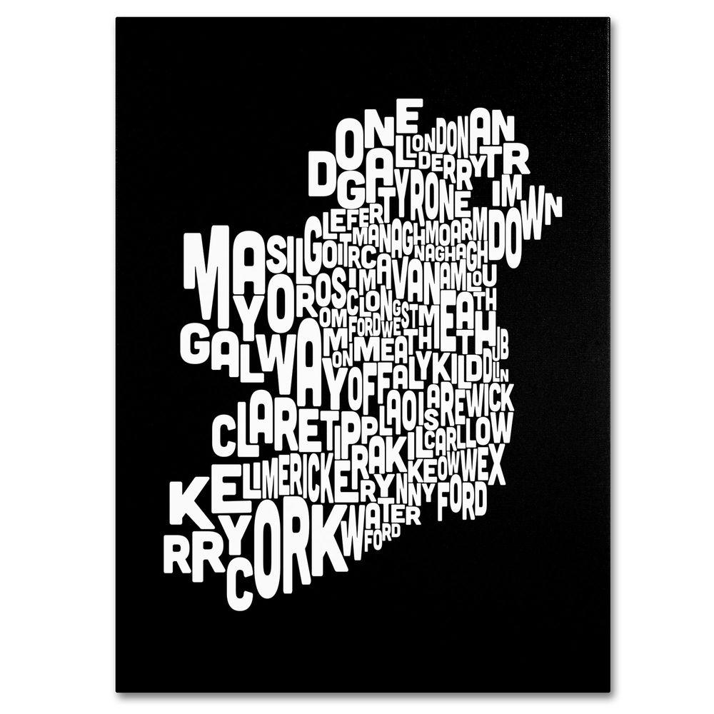 22 in. x 32 in. Ireland Text Map 5 Canvas Art