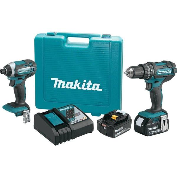18-Volt LXT Lithium-Ion Cordless Combo Kit (2-Piece) Hammer Drill/Impact Driver w/ (2) Batteries (4.0Ah), Charger, Case