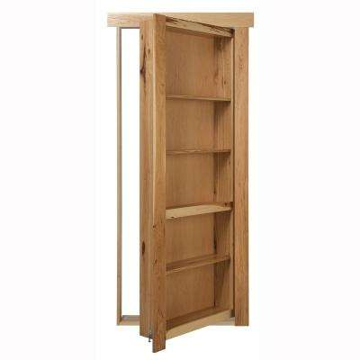 36 in. x 80 in. Flush Mount Assembled Hickory Natural Stained Right-Handed Out-Swing Solid Core Interior Bookcase Door