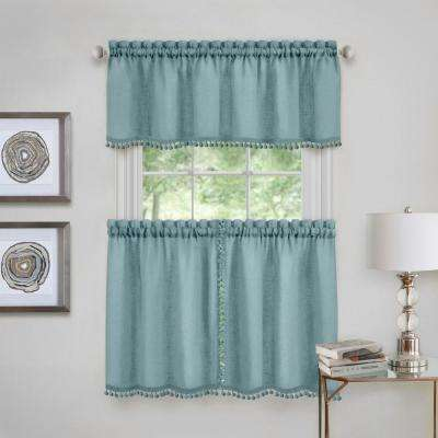 Wallace Polyester Tier and Valance Curtain Set in Aqua - 58 in. W x 36 in. L