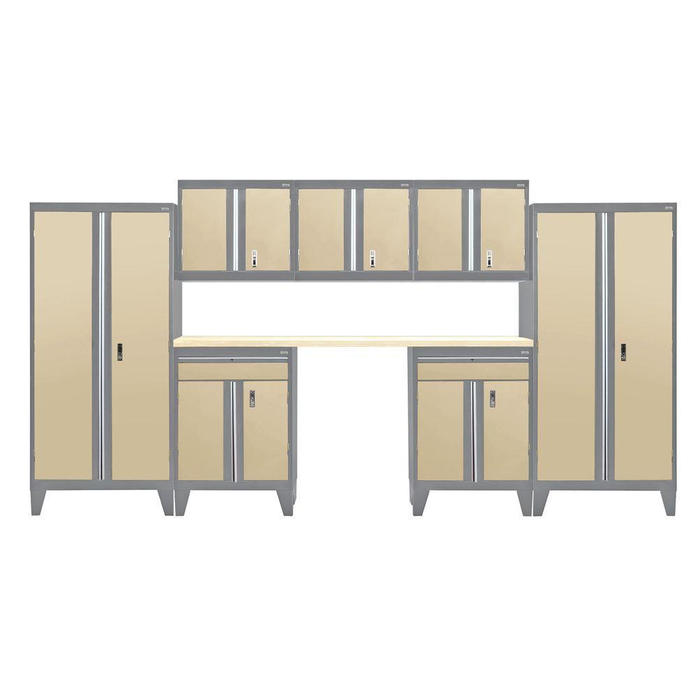 79 in. H x 162 in. W x 18 in. D Modular Garage Welded Steel Cabinet Set in Charcoal/Tropic Sand (8-Piece)