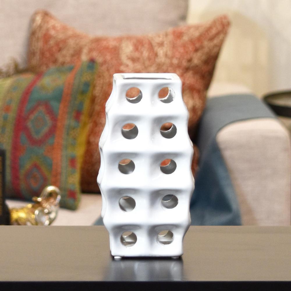 White Polished Chrome Ceramic Decorative Vase