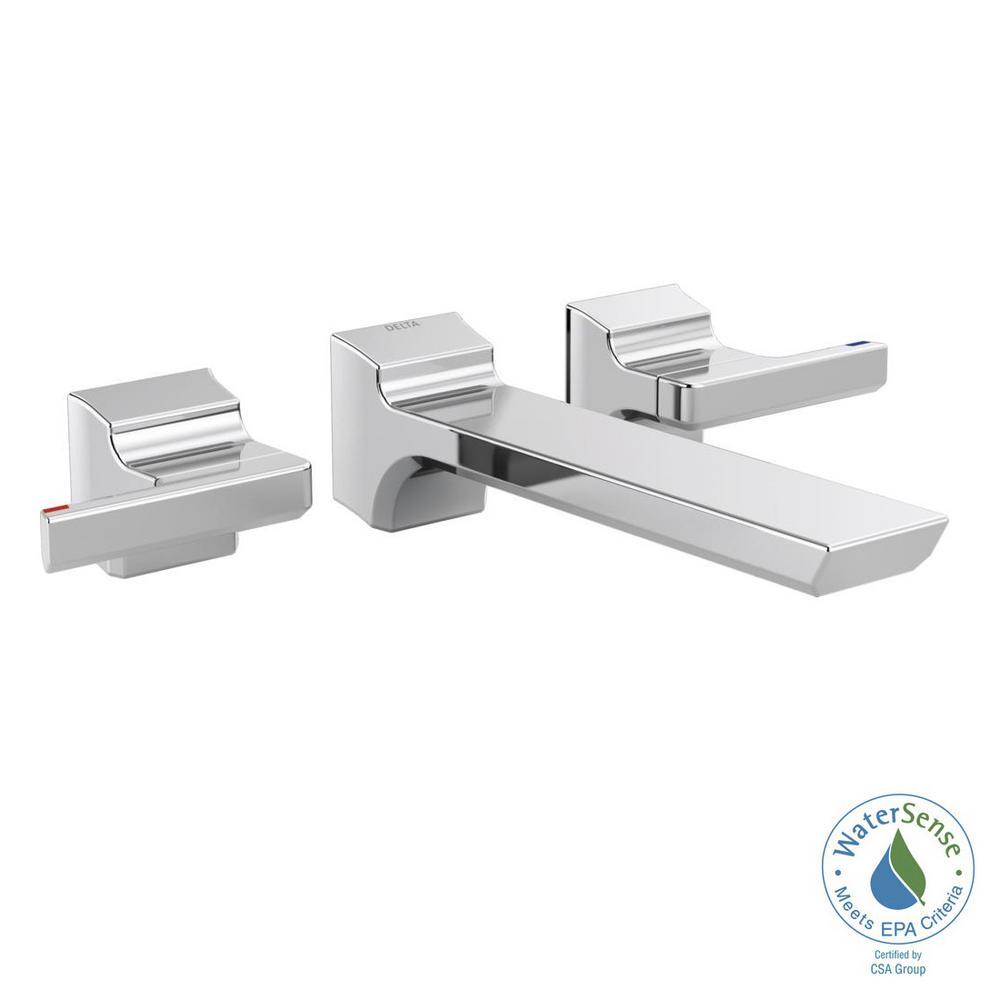 Delta Pivotal 2-Handle Wall-Mount Bathroom Faucet Trim Ki...