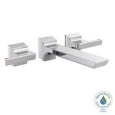 Pivotal 2-Handle Wall-Mount Bathroom Faucet Trim Kit in Chrome (Valve Not Included)