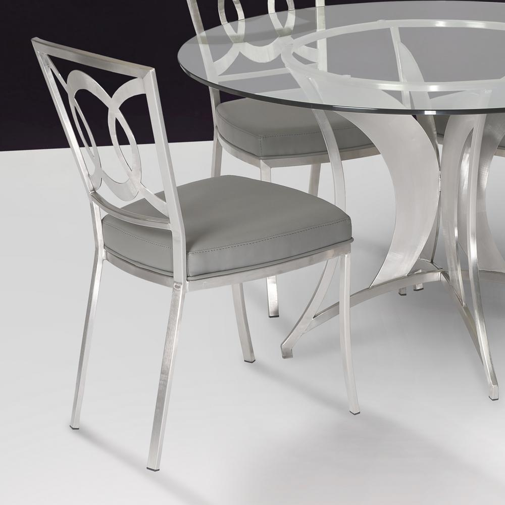 stainless steel dining room chairs | Armen Living Drake 36 in. Gray Fabric and Brushed ...