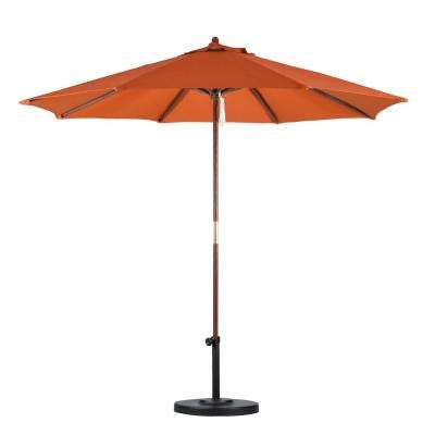 9 ft. Wood Pulley Open Patio Umbrella in Tuscan Polyester
