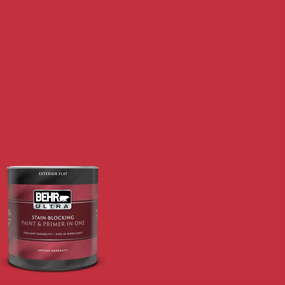 Behr Ultra 1 Qt 150b 7 Poinsettia Flat Exterior Paint And Primer In One 485304 The Home Depot