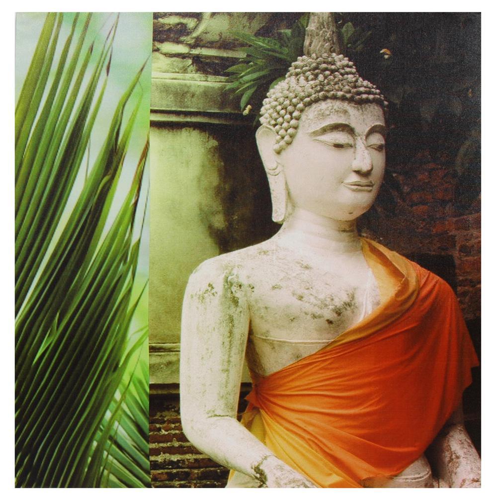 Oriental Furniture 24 in. x 24 in. Orange Draped Buddha Canvas Wall Art, Multi was $39.0 now $25.16 (35.0% off)