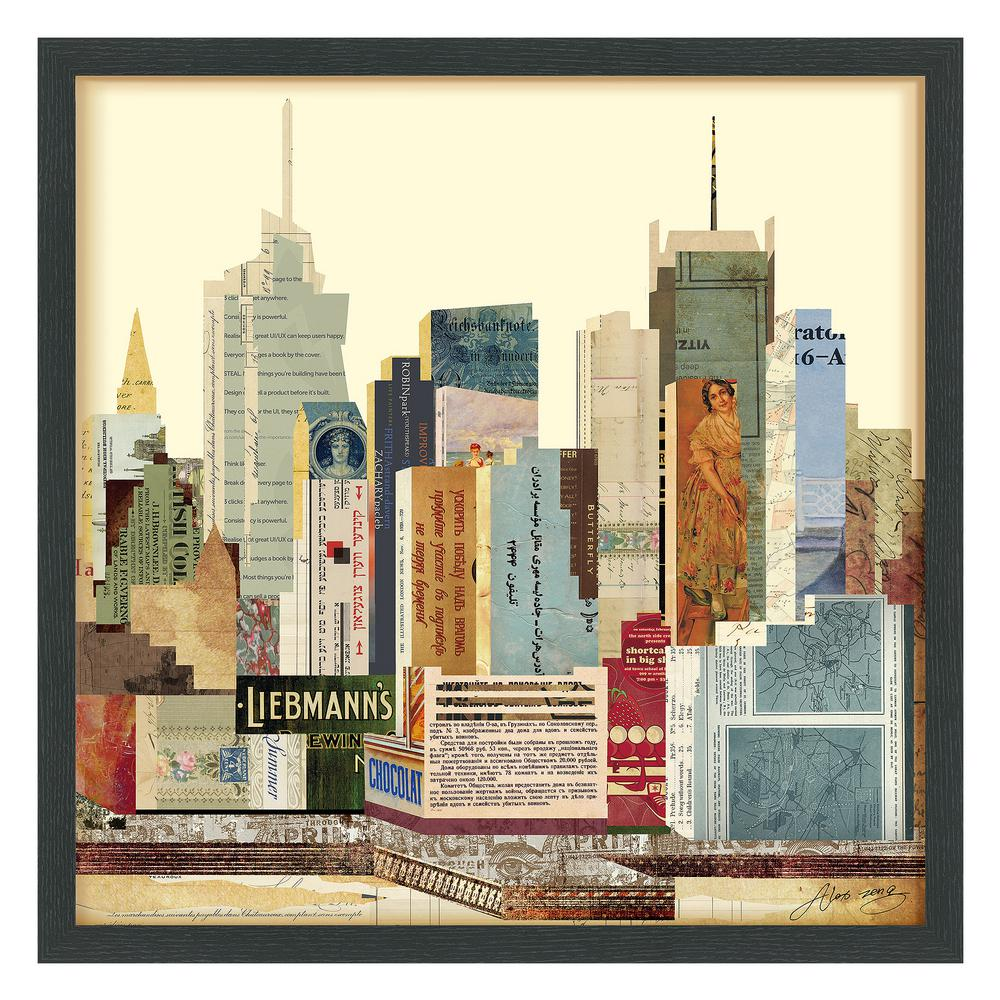 New york city skyline dimensional collage framed