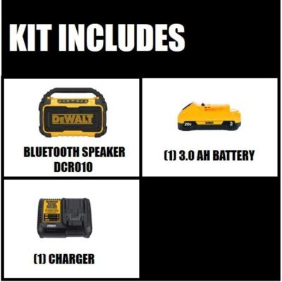 20-Volt MAX Lithium-Ion Bluetooth Speaker (Tool-Only) with 20-Volt MAX 3.0Ah Battery and Charger