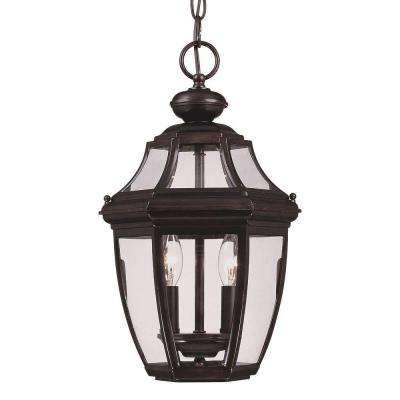 2-Light Outdoor Hanging English Bronze Lantern with Clear Glass