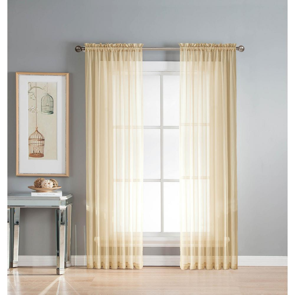 Window Elements Sheer Solid Voile Extra Wide Beige Rod Pocket Curtain Panel 54