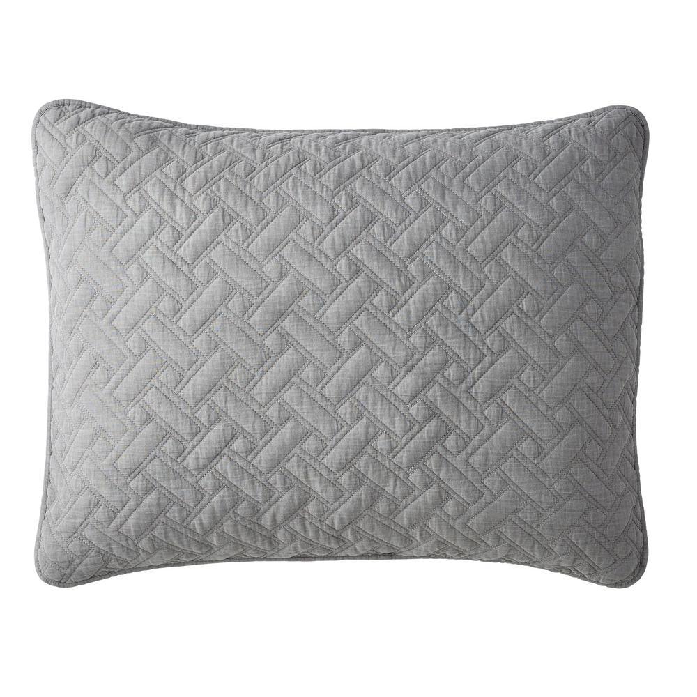 The Company Store Hunter Solid Gray Cotton Standard Sham 50320F-STD-GRAY