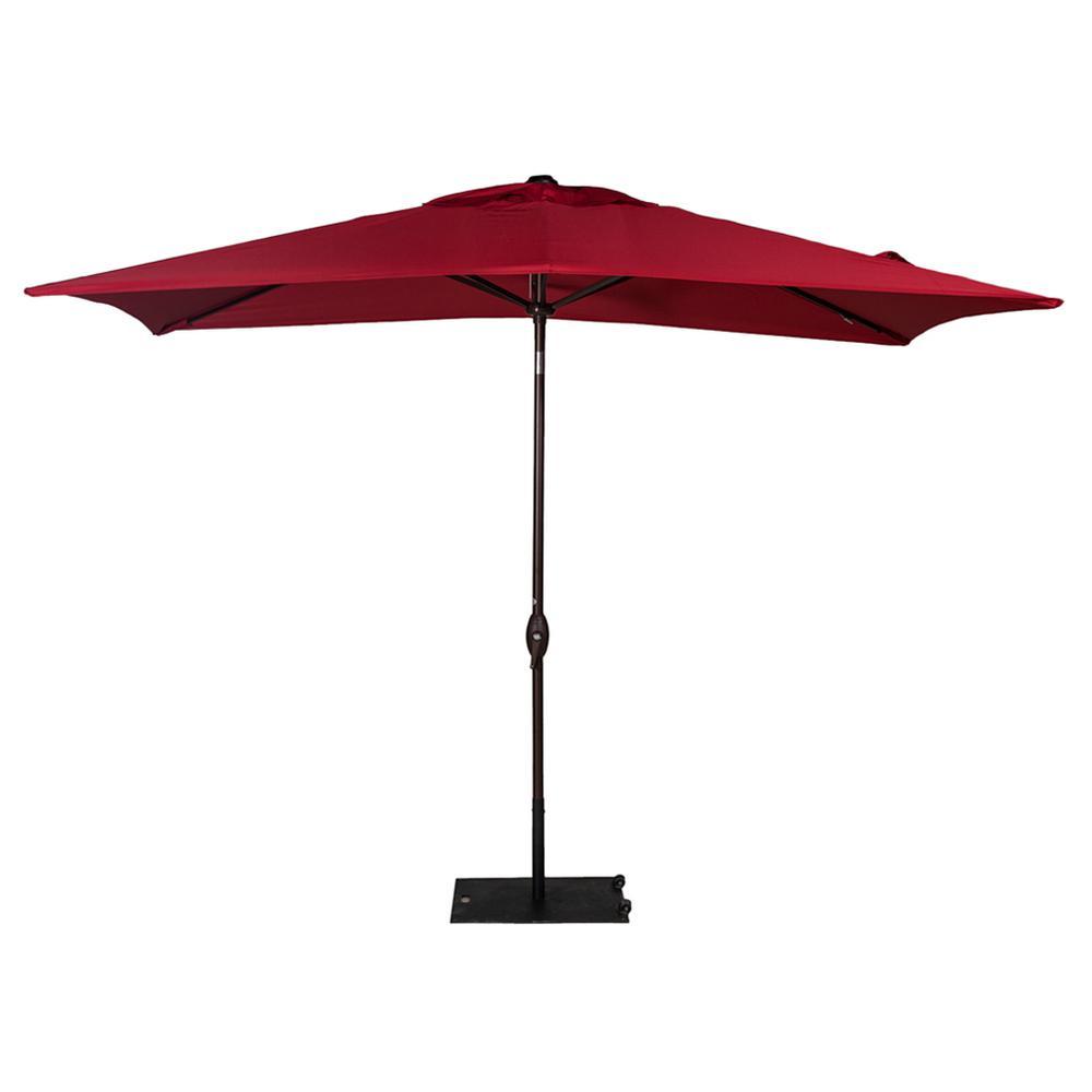 6.6 ft. x 9.8 ft. Rectangular Market Push Tilt Patio Umbrella in Red