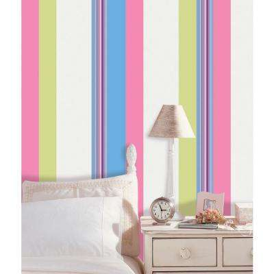 6.5 in. x 16 ft. Ribbon Candy Blue Stripe Wall Decal