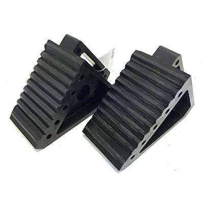 8 in. L x 4 in. W x 6 in. H Solid Rubber Heavy-Duty Black Wheel Chock (2-Pack)
