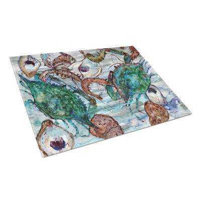 Shrimp, Crabs and Oysters in water Tempered Glass Large Heat Resistant Cutting Board