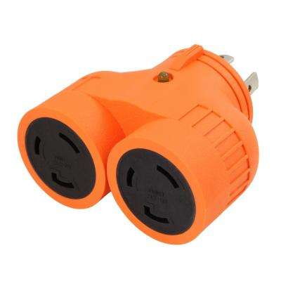 Generator V-Duo Outlet Adapter L14-30P 30 Amp 4-Prong Plug to Two 30 Amp L5-30R 3-Prong Outlets
