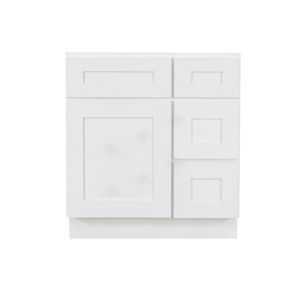 LIFEART CABINETRY Shaker Assembled 30 in. W x 21 in. D x 33 in. H Vanity Cabinet Only with 1 Door, 2 Right Drawers in White
