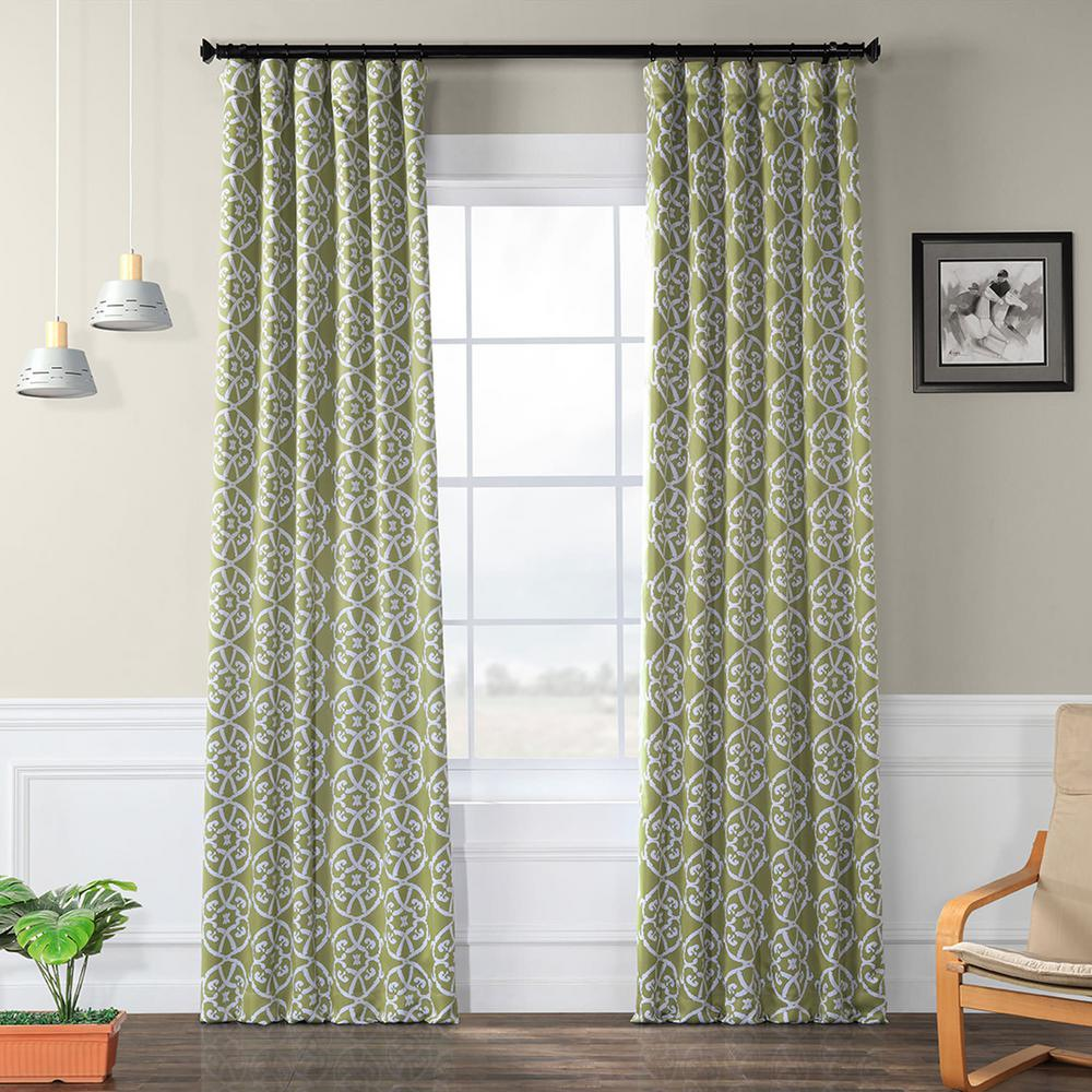 Exclusive Fabrics & Furnishings Semi-Opaque Secret Garden Leaf Green Blackout Curtain - 50 in. W x 120 in. L (Panel)