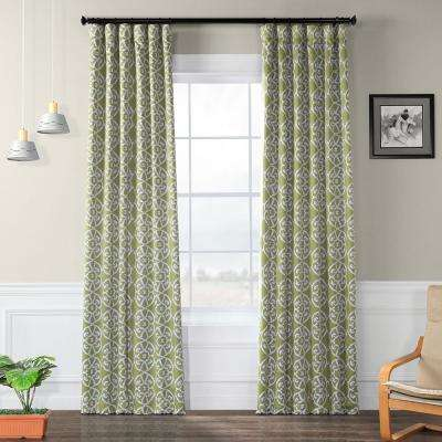 Semi-Opaque Secret Garden Leaf Green Blackout Curtain - 50 in. W x 120 in. L (Panel)