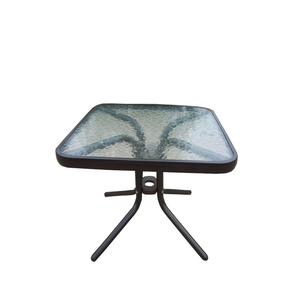 20 in. Round Tempered Glass Top Black Outdoor Side Table with