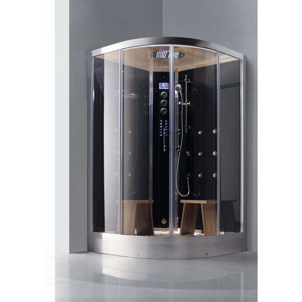 Athena 2-Person Luxury Walk-In Corner Steam Shower Enclosure Kit in ...